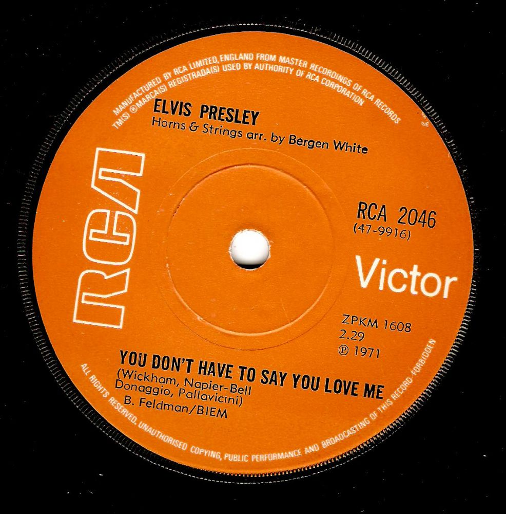 Elvis Presley You Don T Have To Say You Love Me Vinyl